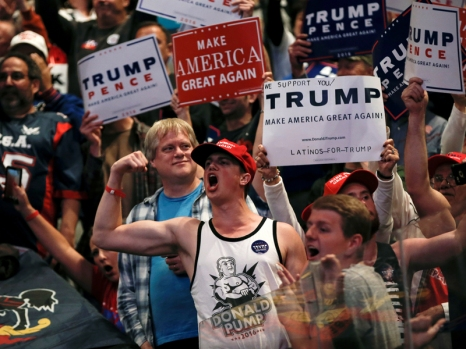 Supporters of Republican U.S. presidential nominee Donald Trump cheer at a campaign rally in Wilkes-Barre, Pennsylvania, on October 10, 2016. Photo courtesy of Reuters/Mike Segar *Editors: This photo may only be republished with RNS-TRUMP-POLL, originally transmitted on October 11, 2016.
